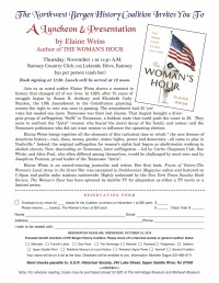 "A Luncheon & Presentation by Elaine Weiss, author of ""A Woman's Hour"""