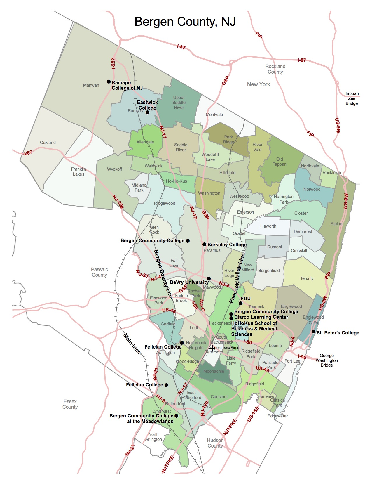 Bergen County Map of Municipalities 201302190729209913
