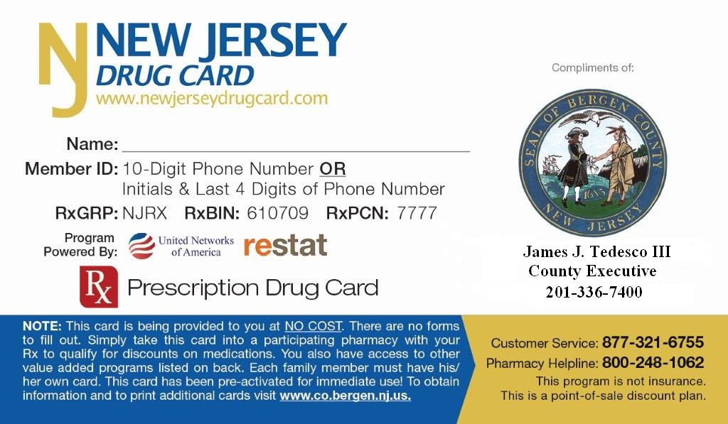 About bergen county the bergen county wellness discount program provides you with a free prescription drug card reheart Choice Image